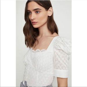 BCBGMAXAZRIA Lace-Trimmed Cotton Top- NWT